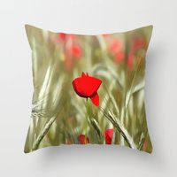 Hot Poppy Throw Pillow