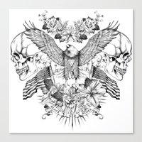 American Flower Skulls Canvas Print