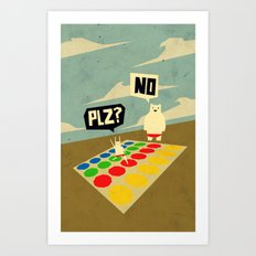 Yeti Doesn't play twister Art Print