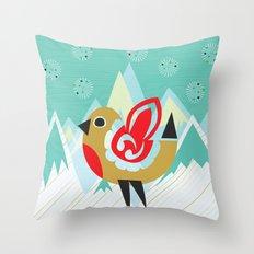 Festive Yule Snow Robin Throw Pillow