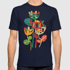 Wild Flowers Mens Fitted Tee Navy SMALL