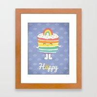 Happy Rainbow Cake Framed Art Print