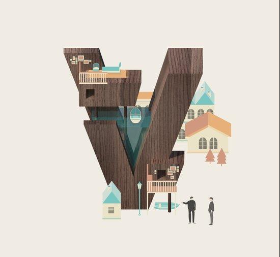 Resort Type - Letter V Art Print