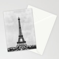 Eiffel tower in greyscale with painterly effect Stationery Cards