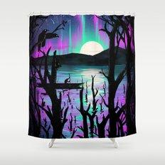 Night With Aurora Shower Curtain