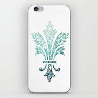 Fleur De Lis - French - Blue iPhone & iPod Skin