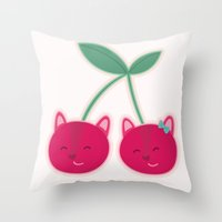 Cherry kitties Throw Pillow