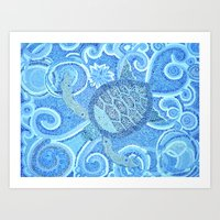 Blue Mosaic Sea Turtle Art Print