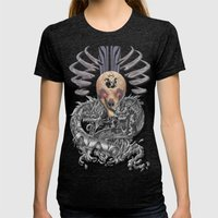 Dragons Skull Womens Fitted Tee Tri-Black SMALL