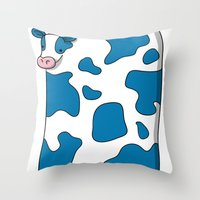 Blue Cow Throw Pillow