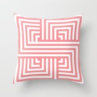 Coral Nautical Stripes Throw Pillow