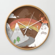 Volcano Fact Wall Clock