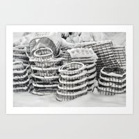 Plant Cages In The Snow Art Print