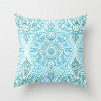 Turquoise Blue, Teal & White Protea Doodle Pattern Throw Pillow