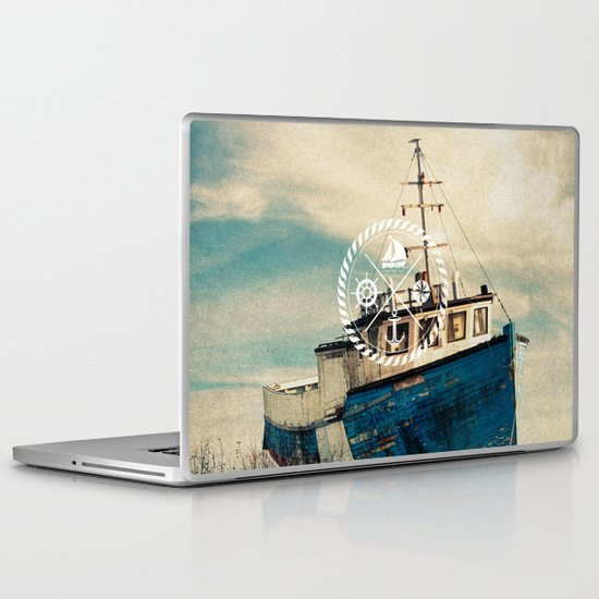 Blue Brown Vintage Nautical Anchor Sailing Boat Laptop & iPad Skin