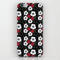 Anemone Print on Black iPhone & iPod Skin