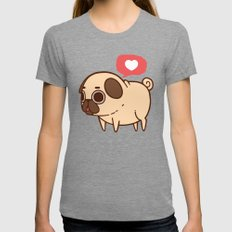Puglie Heart Womens Fitted Tee Tri-Grey SMALL