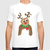Santa's Reindeer Mens Fitted Tee White SMALL