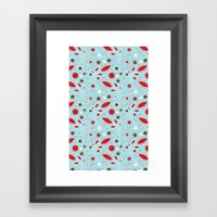 Retro Blue And Red Patte… Framed Art Print