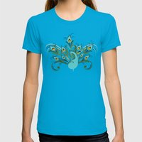 Just A Peacock Womens Fitted Tee Teal SMALL