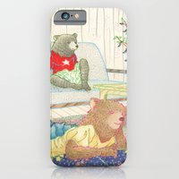 iPhone & iPod Case featuring Everyday Animals- Little Bears lounge around by Aiko Tagawa
