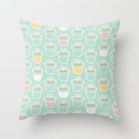 Potted Plants Pastels Throw Pillow