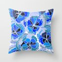 Floral Blue Throw Pillow