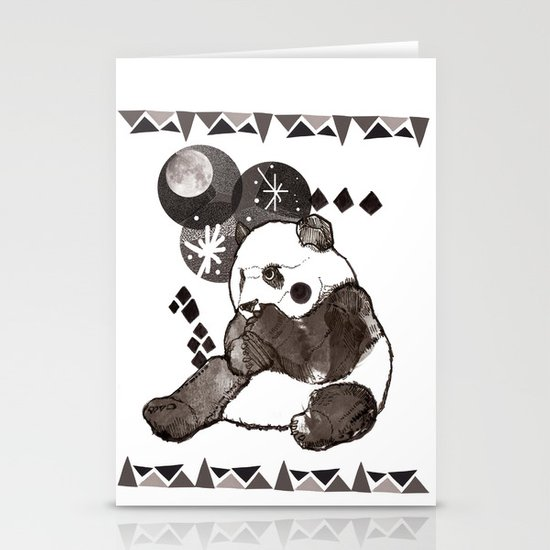 European Panda Stationery Card