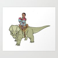 A Boy and his Dinosaur Art Print