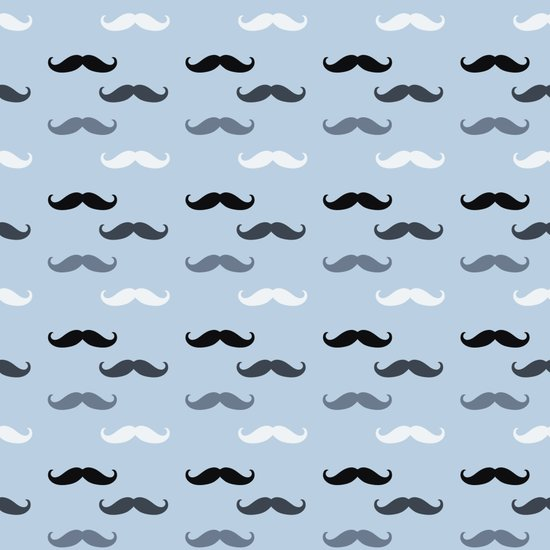Cool Blue Mustaches Art Print