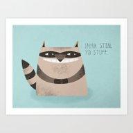 Sneaky Raccoon Art Print