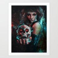 Skull Mage Dark Fantasy … Art Print
