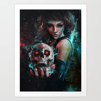 Skull Mage Dark Fantasy Original Character Painting Art Print