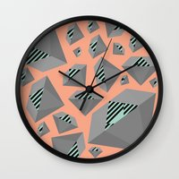 Mint and Gray Diamond on Peach Wall Clock