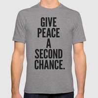 Give Peace a Second Chance. Mens Fitted Tee Athletic Grey SMALL