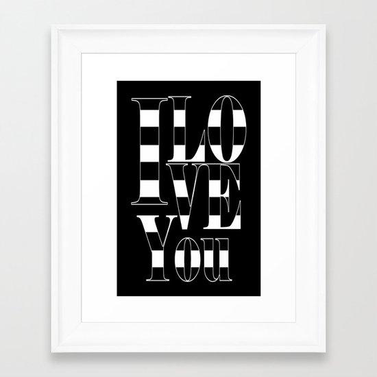 I love you - black Framed Art Print