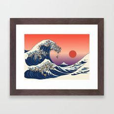 The Great Wave of English Bulldog Framed Art Print