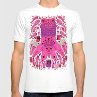 Pink Worm Neck Mens Fitted Tee White SMALL