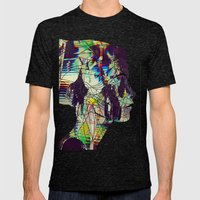 Glitched Girl Mens Fitted Tee Tri-Black SMALL
