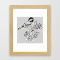 Cole Tit & Roses // Hand Drawn Print Framed Art Print