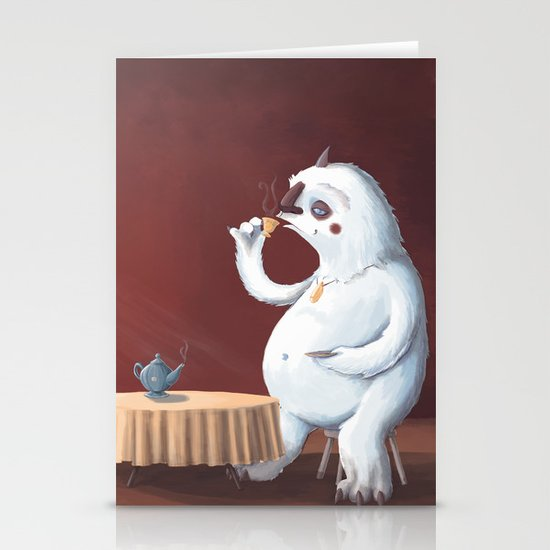 the yeti came for tea Stationery Card
