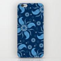 Floral Obscura Dark Blue iPhone & iPod Skin