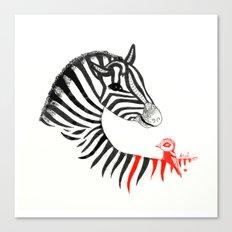 Black Zebra and Orange Bird Canvas Print