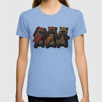 STAR WARS The Three Wise Ewoks Womens Fitted Tee Athletic Blue SMALL