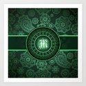 Monogrammed Aridi M Green Art Print