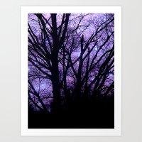 Purple Starry  Halloween Art Print