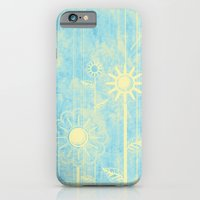 iPhone & iPod Case featuring retro flowers in blue and yellow by Wendy Townrow