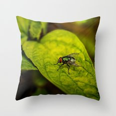 Fly in the green Throw Pillow