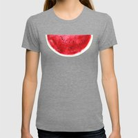 Fresh Watermelon Womens Fitted Tee Tri-Grey SMALL