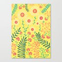 A Yellow Flowery Pattern Canvas Print